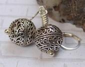 Sterling Silver Leverback Earrings, Sterling Silver Beaded Earrings, Sterling Silver Drop Earrings, Sterling Silver Bead Drop Earrings