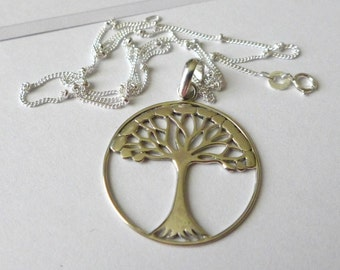 Tree of Life sterling silver pendant satellite chain AP01