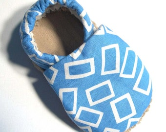 Blue Rectangles Soft Soled Baby Shoes NB