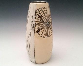 Ceramic Vase with Cosmos Flower