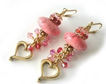 Pink Sweetheart Earrings, Pink Magnesite Gemstones, Swarovski Crystals, Heart Charms, Gold Earrings, Valentines Day, Long Beaded Earrings