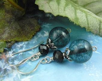 Blue Bead Earrings ~ Faceted Onyx Earrings ~ Blue Dangle Earrings ~ Black and Blue Earrings ~ Crackled Blue Earrings ~ Bead Dangle Earrings
