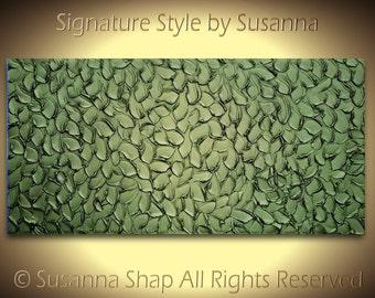 ORIGINAL Modern Abstract Oil Painting Deep Metallic Jewel Tone Olive Emerald Green Texture Home Decor Wall Art Palette Knife ~Susanna