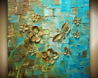 ORIGINAL Abstract Dragonfly Art Dragonfly Painting Palette Knife Painting Wall Art Modern Art Impasto Textured Artwork by Susanna