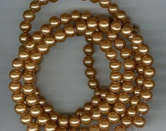 CLEARANCE 6mm Dark Golden Glass Pearl Round Beads