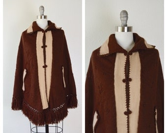 chocolate brown and tan button up poncho / fringe knit poncho