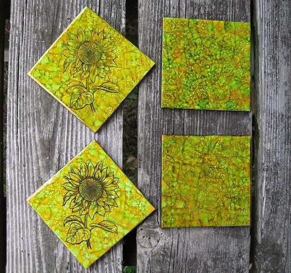 Set Of Sunflower Alcohol Ink Ceramic Tile Coasters