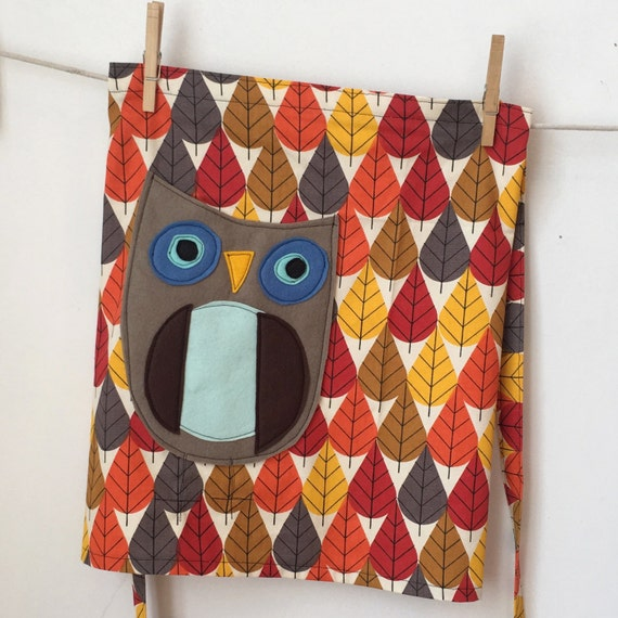 Mr.felt applique Owl Pocket on organic cotton canvas Apron