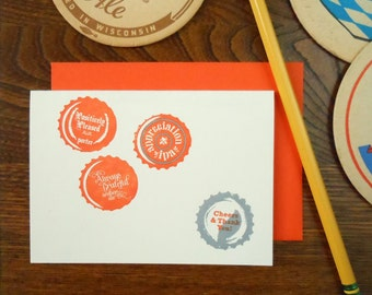 SALE 50% OFF letterpress cheers & thank you bottlecaps thank you greeting card orange silver craftbrew homebrew