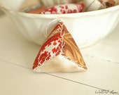 One Antique French Textiles, Vintage Damask, Triangle Pin Cushion Pin Keep Ornament