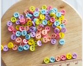 100 pcs Tiny Mini Round Buttons Mixed Color Supply - 2 holes - Blythe / Doll Clothes Supply