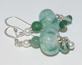 Green and White Sterling Silver Earrings, Lampwork Sterling Silver Earrings, Aventurine Sterling Silver Earrings, Sterling Silver Earrings