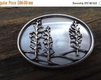 Designer vintage pin Mother of Pearl MOP sterling silver - winter landskape- ON SALE
