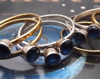 Genuine Royal Blue Sapphire Silver ring -perfect gift - Mix and Match Stack Rings Collection