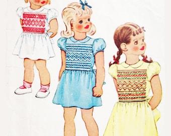 Vintage 40s Sewing Pattern Girls Smocked Dress Size 6 Smocking Short Sleeve McCall 1350