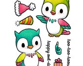Some Odd Girl Clear Cling Rubber Stamp Set -Happy Owls Day