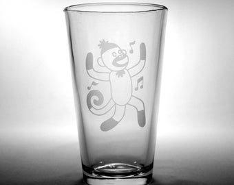 Sock Monkey Pint Glass - dancing monkey with musical notes (1 glass)