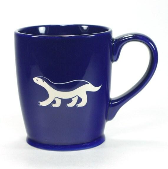 Honey Badger Mug - Navy Blue - ceramic coffee cup