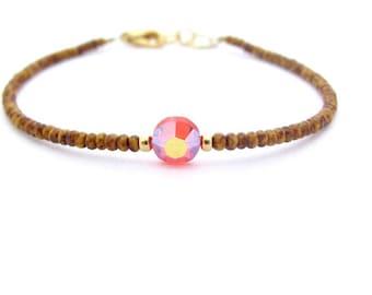 Crystal Friendship Bracelet, Brown Beaded Bracelet, Seed Bead Bracelet, Vintage Swarovski Crystal, Yoga Zen Jewelry, Hawaiian Jewelry