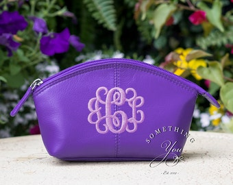Regal Purple Monogrammed Small Leather Cosmetic Bag Personalized Leather makeup case monogrammed bridesmaids bags natural leather make up