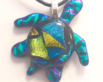 Turtle pendant,dichroic glass,unique fused glass,one of a kind, gift for her