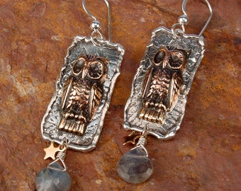 MAJESTIC OWL - Totem Owl Earrings with Labradorite Faceted Briolettes, Sterling Silver, Brass