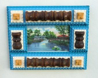 Blue Tramp Art Frame