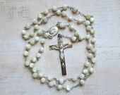 Vintage Rosary Sterling Silver with Mother of Pearl Beads with Blessed Virgin and Jesus Center, Marked Chapel, Catholic Devotional