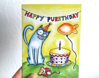 Happy Purrthday Cat Card