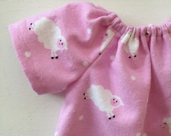 14 -16 inch, Doll Clothing, for Waldorf dolls, doll dress, doll nightgown, counting sheep, doll frock, for handmade dolls, Waldorf toy