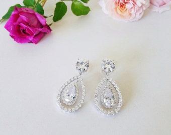Bridal Earrings Wedding Earrings Water Drop Earrings  Solitaire Dangle Earrings Crystal Bridal Teardrop Earrings Cocktail Earrings