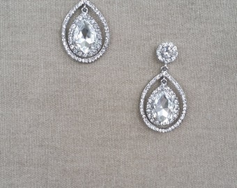 Bridal Teardrop Earrings, Wedding Jewelry, Swarovski Crystal Earrings, Vintage Inspired, Bridal Earrings,