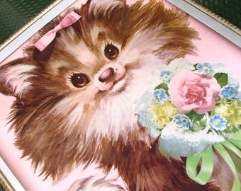 Vintage Kawaii Kitty Cat Kitten Nursery Decor Print