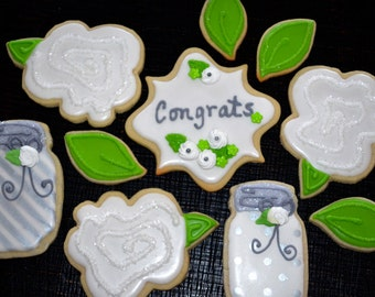 CONGRATULATIONS THEME assorted decorated cookies.  Mason jar, flowers, frame, congrats, leaves. Thank you, birthday, holidays.