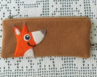 Zippered pouch pen case pencil case fudge brown with a needle felted orange fox