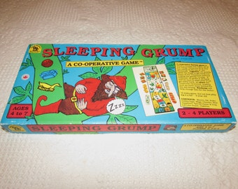 Vintage Childs Board Game, Sleeping Grump Board Game by Family Pastimes, 1981, charming title, created by J Deacove