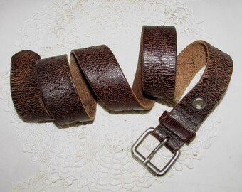 Vintage Worn Brown Leather Belt with Heartbeat like Stitching the length of the belt, 80s, accessory