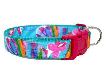 2015 SUMMER HAZE Dog Collar Made from Lilly Pulitzer Fabric on Teal Size: Your Choice