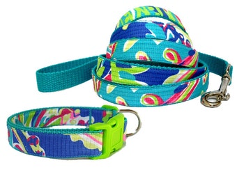 Toucan Play Dog Collar and Leash Set Made from Lilly Pulitzer Fabric Size: Your Choice