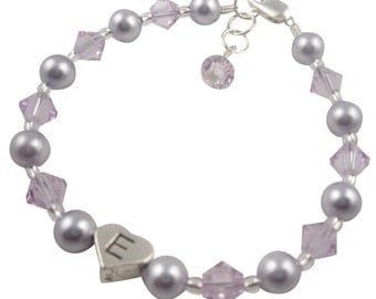 Flower Girl Bracelet , Lavender Purple & Violet Lilac/ choose your colors -Wedding Jewelry Bracelet Gift For Girl and Baby, First Communion