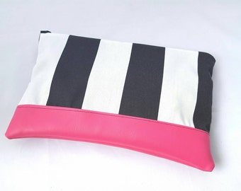 Clutch purse, leather clutch purse, vegan leather clutch,black stripe zipper clutch,tablet holder, makeup bag, bridesmaid gift, gift for her