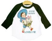 Bunny Raglan Shirt, Boy or Girl Shirt, Love, Easter Gift, Vintage Rabbit Graphic T Shirt, Black Red Blue Navy or Pink, sz 2, 4, 6, 8, 10, 12