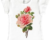 Rose Shirt, Girls Soft Pink Flower Top, Cap Sleeve, Short Sleeve Shirt, Retro Graphic, size 2, 4, 6, 8, 10, or 12