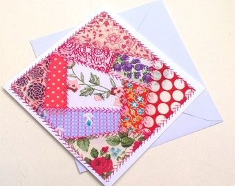Greeting Card - Original Textile Artwork - Crazy Patchwork