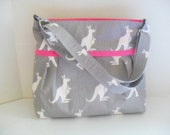 Diaper Bag - Gray Kangaroo - Pinkl - Adjustable Strap - Kangaroo Diaper Bag - Messenger Bag - Bags and Purses -  Stroller Straps