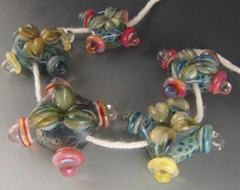 5 boro/borosilicate handmade artisan lampwork glass bead, Redside Designs, SRA