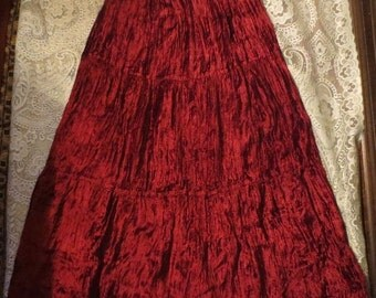 ON SALE Long Deep Red Velvet Broom Skirt Flowy, Size Small Witchy Gothic