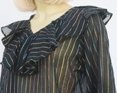 vintage 70s INDIA TUNIC blouse | metallic rainbow stripes ruffle collar | OS