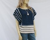 vintage 80s FLUTTER SLEEVE sweater | boho chic blue stripes | M
