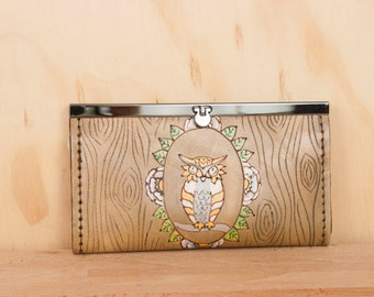 Leather Checkbook Wallet -  Clutch Wallet - Womens Wallet - Emerson Owl Pattern with Owl and Woodgrain - Antique Brown
